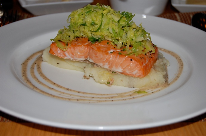 Steelhead trout on a bed of mashed potatoes, topped with brussel sprouts (reg. price $26)